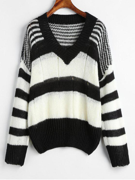 outfits Openwork Stripe Sweater - MULTI ONE SIZE