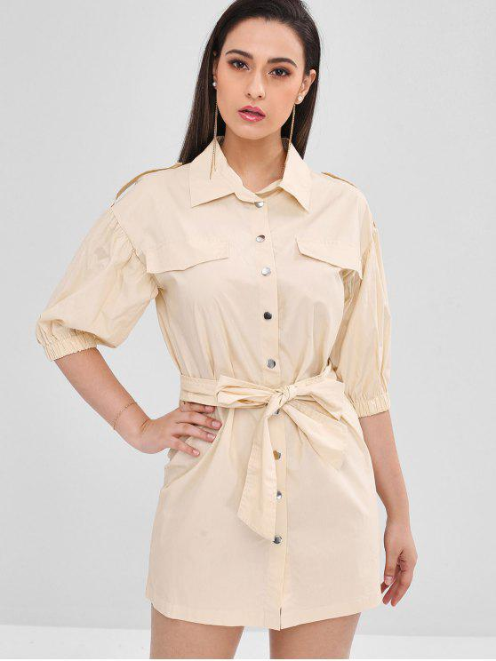ladies Shift Belted Shirt Dress - APRICOT M