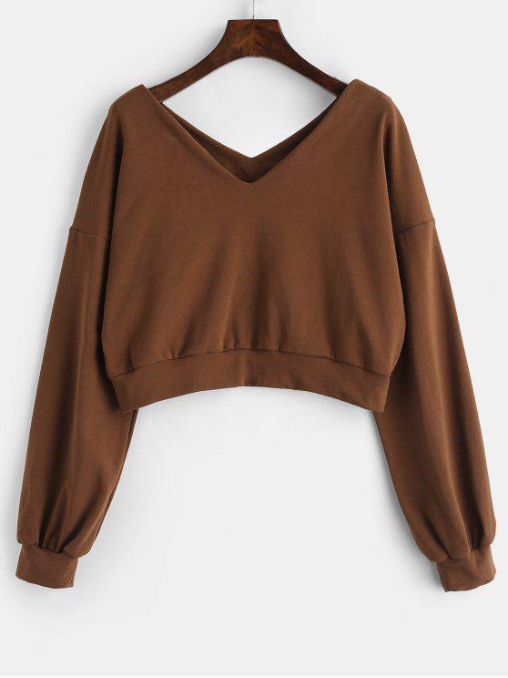 ZAFUL Sweat-shirt Simple à Col V - Sépia M