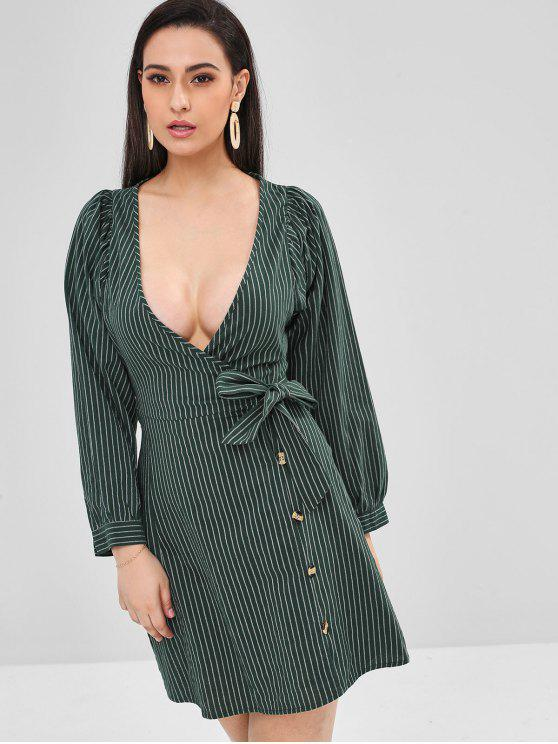 affordable ZAFUL Plunge Striped Wrap Dress - DARK FOREST GREEN S