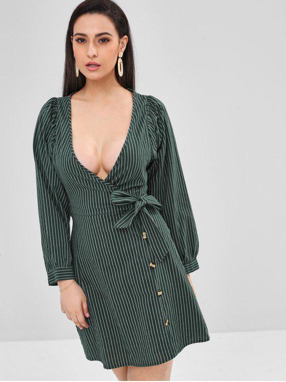 shop ZAFUL Plunge Striped Wrap Dress - DARK FOREST GREEN L