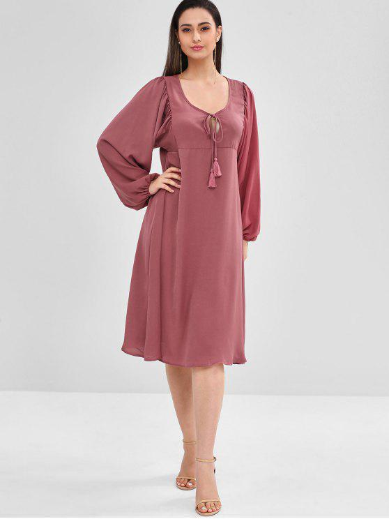 latest ZAFUL Long Sleeve Loose Knee Length Dress - PALE VIOLET RED M