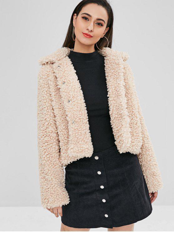 shop ZAFUL Fluffy Faux Fur Short Winter Teddy Coat - CAMEL BROWN M
