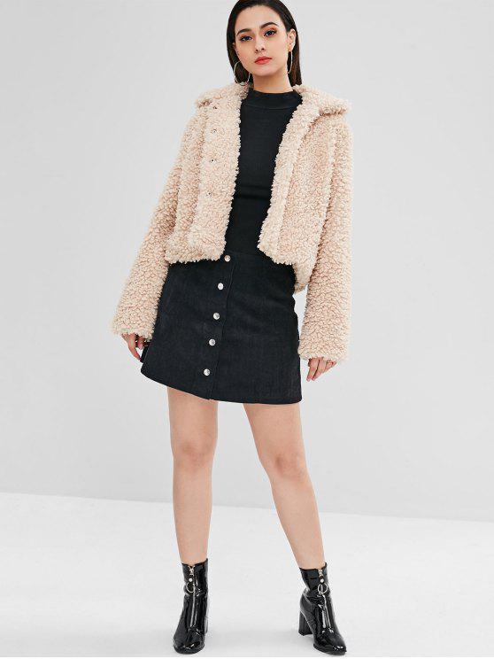 ZAFUL Fluffy Faux Fur Short Winter Teddy Coat - Camel Brown Xl