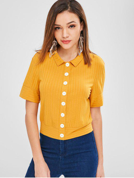 lady ZAFUL Button Up Casual Tee - BEE YELLOW L