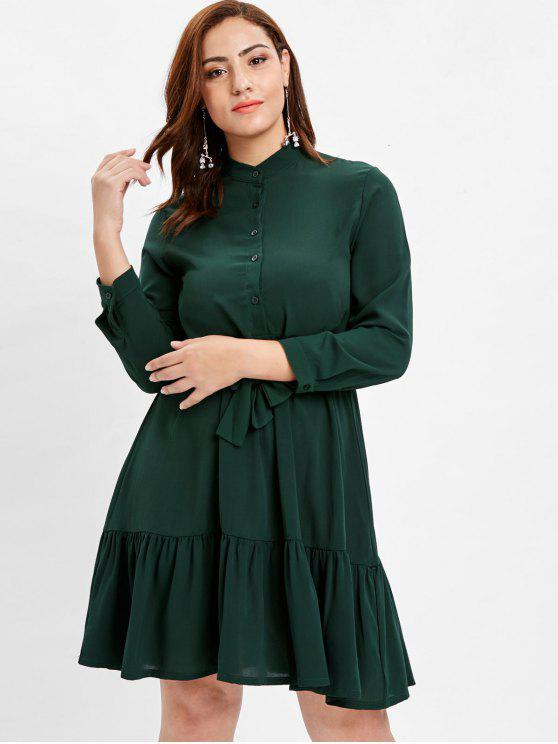 fashion Plus Size Half Button Belted Dress - DEEP GREEN 3X