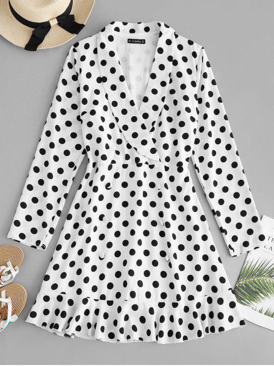 new ZAFUL Shawl Collar Polka Dot Dress - WHITE S