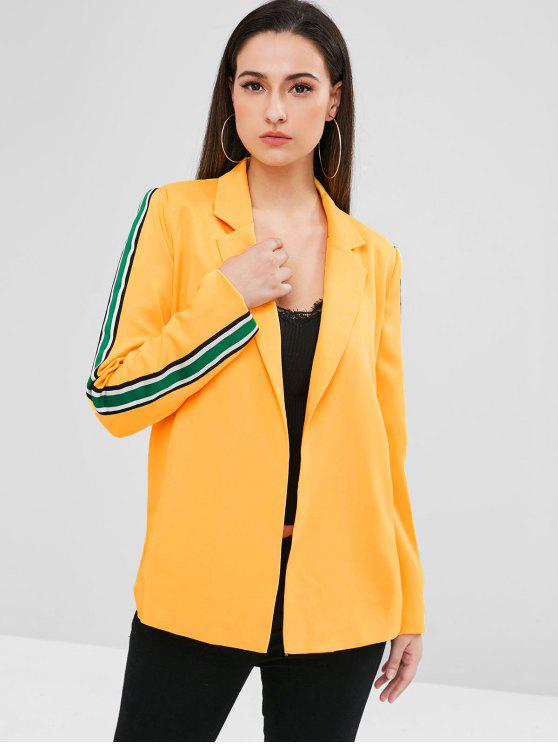 trendy ZAFUL Striped Panel Lapel Tunic Blazer - BEE YELLOW L