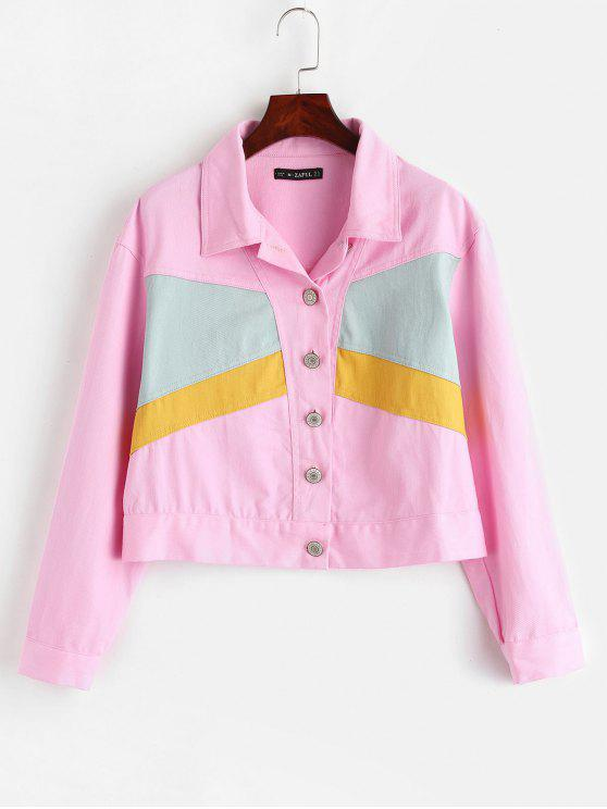 ladies ZAFUL Button Up Color Block Jacket - PINK M