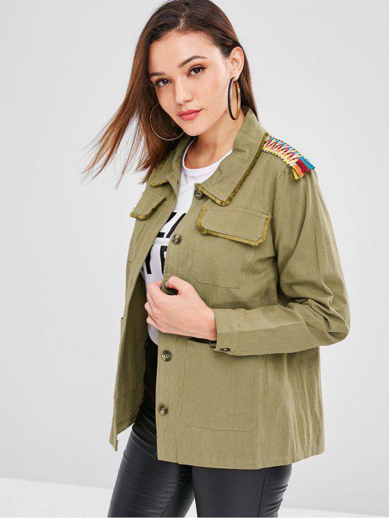 womens ZAFUL Pocket Frayed Trim Tunic Jacket - ARMY GREEN L