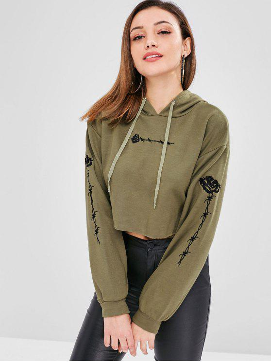 shop ZAFUL Embroidered Raw Hem Hoodie - ARMY GREEN L