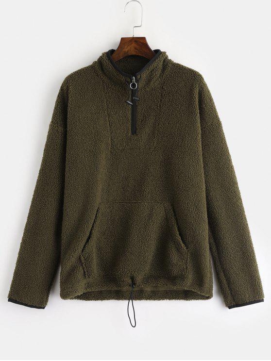ZAFUL Pocket Zip Front Faux Shearling Sudadera - Ejercito Verde L