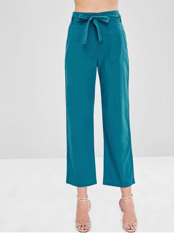 affordable ZAFUL High Waist Belted Wide Leg Pants - PEACOCK BLUE M