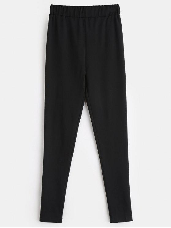 best ZAFUL Stretchy Plain Skinny Pants - BLACK M
