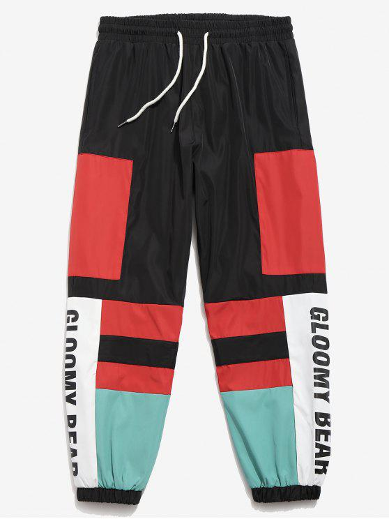 Color Block Beam Feet Jogger Pants - Negro 2XL