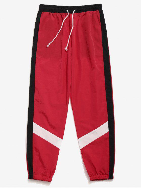 Calças de jogging listradas de bloco de cor - Vermelho L
