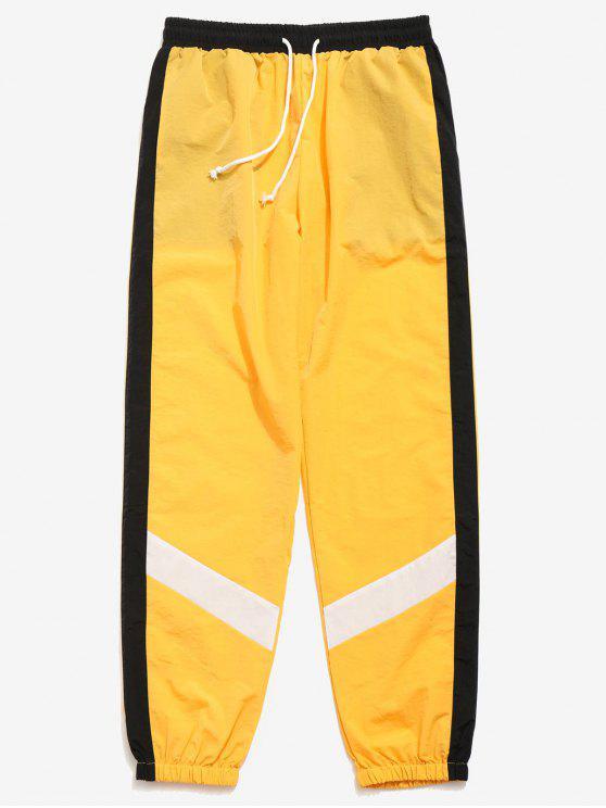 Pantalones Jogger a Rayas de Color Block - Amarillo L