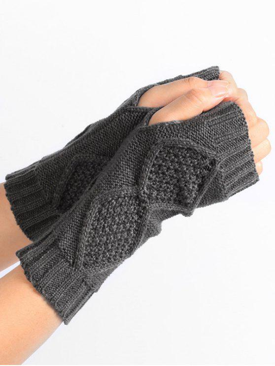 fancy Solid Color Fingerless Gloves - GRAY