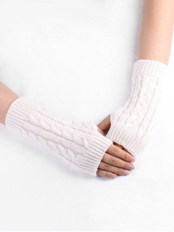 ladies Solid Color Knitted Gloves - WHITE
