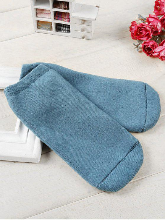 fashion Solid Color Cotton Ankle Socks - PEACOCK BLUE