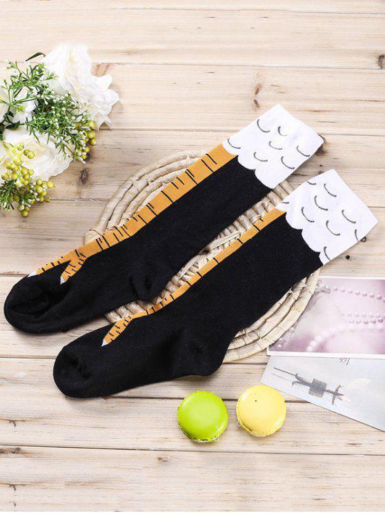 buy Vintage Animal Hand Pattern Tube Socks - BLACK