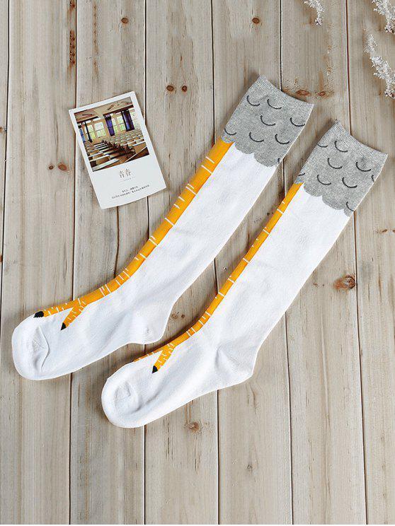 women Vintage Animal Hand Pattern Tube Socks - WHITE