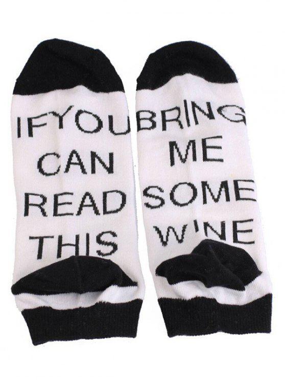 online Stylish Fun Sentences Ankle Socks - WHITE