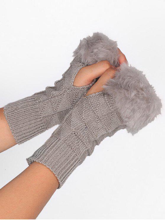 chic Winter Geometric Fingerless Gloves - GRAY CLOUD