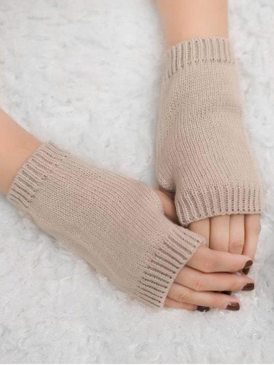 new Vintage Fingerless Knitted Gloves - LIGHT KHAKI