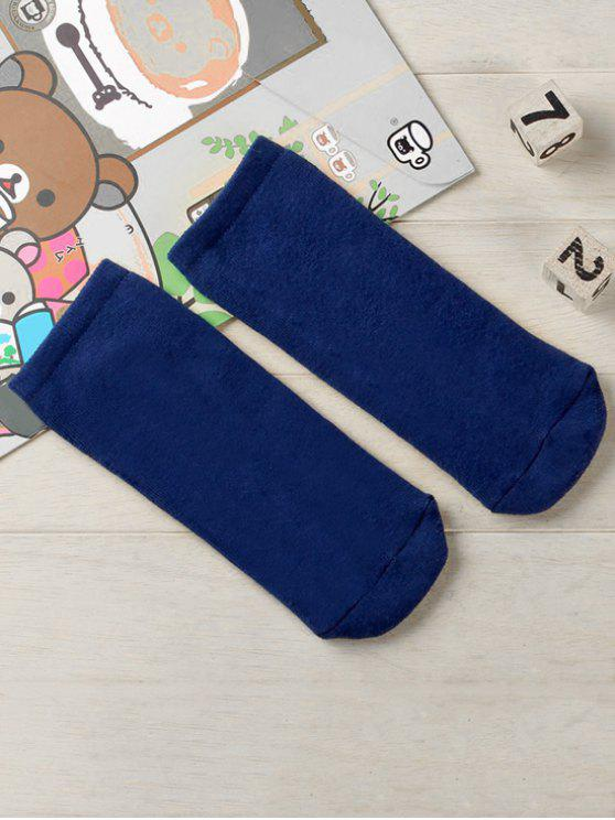 shops Solid Color Cotton Ankle Socks - NAVY BLUE