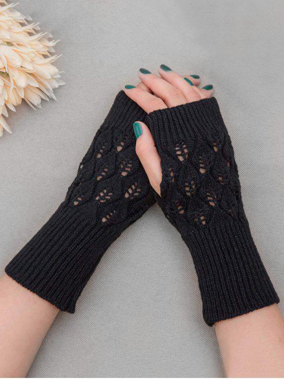 latest Vintage Hollow Out Fingerless Gloves - BLACK
