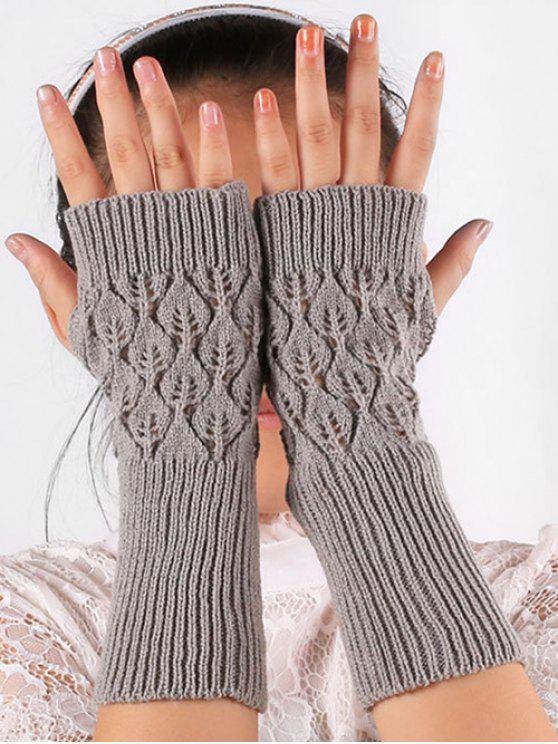 women Vintage Hollow Out Fingerless Gloves - GRAY CLOUD