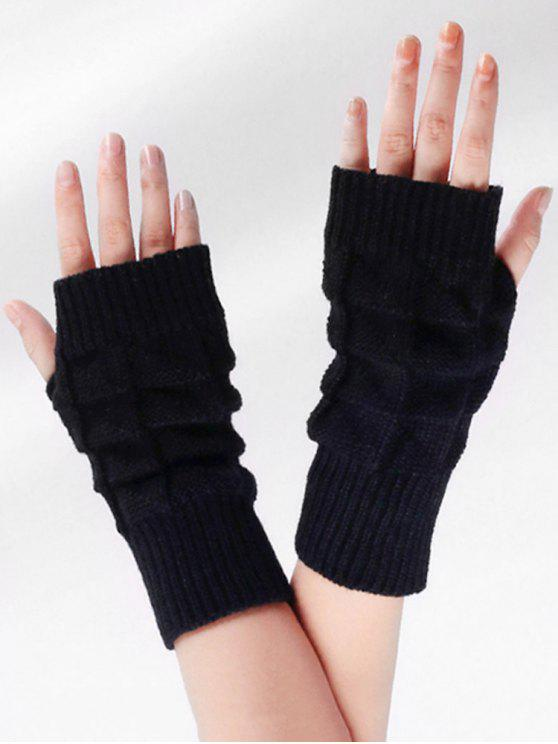 latest Vintage Plaid Fingerless Gloves - BLACK
