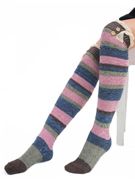 womens Color Block Lace High Knee Socks - MULTI-C