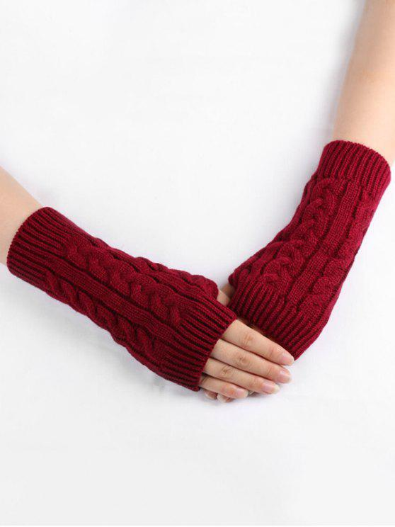 best Solid Color Knitted Gloves - RED WINE