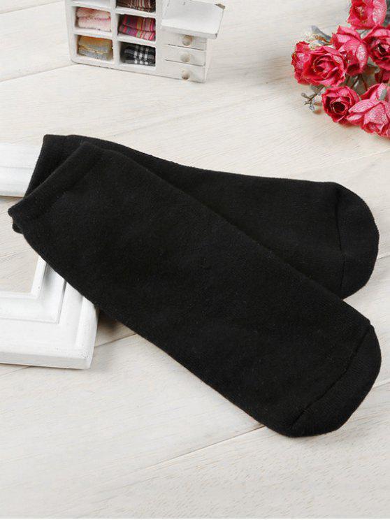 lady Solid Color Cotton Ankle Socks - BLACK