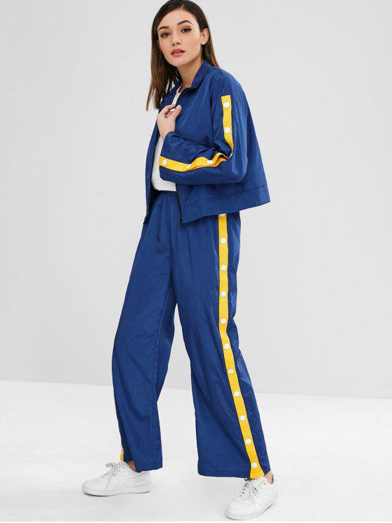 chic ZAFUL Sports Zip Jacket and Pants Set - DEEP BLUE M