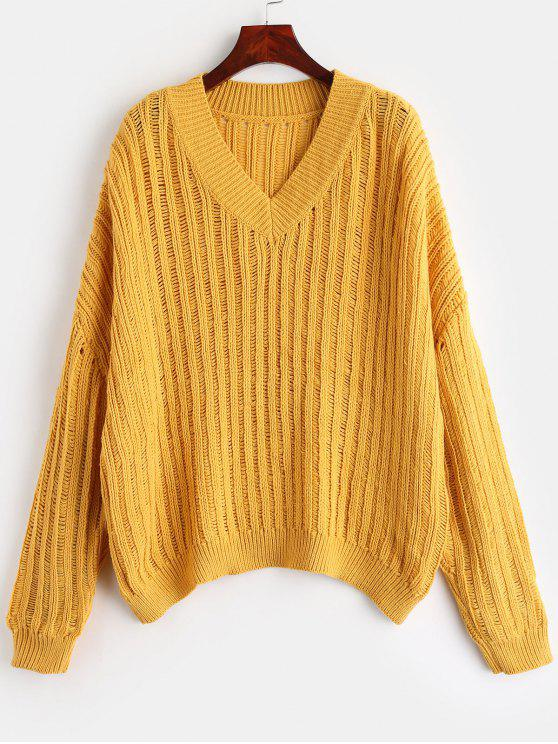 hot ZAFUL V Neck Oversized Sweater - BRIGHT YELLOW ONE SIZE