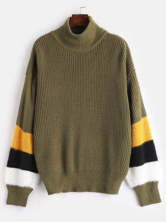 shops ZAFUL High Neck Stripes Sweater - ARMY GREEN ONE SIZE