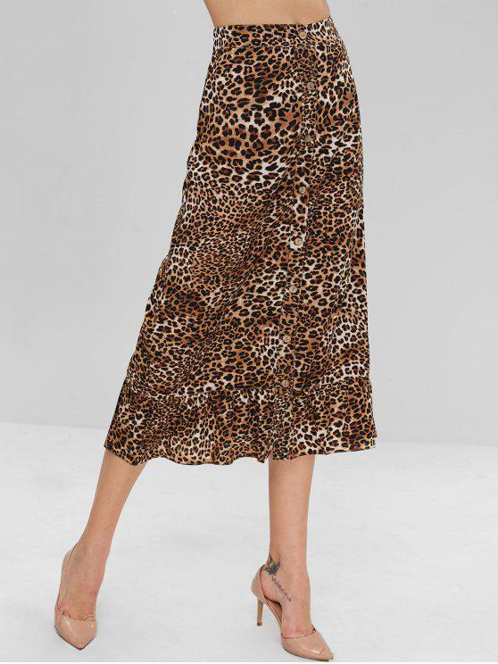ZAFUL Button Up Ruffles Leopard Skirt - Leopardo L