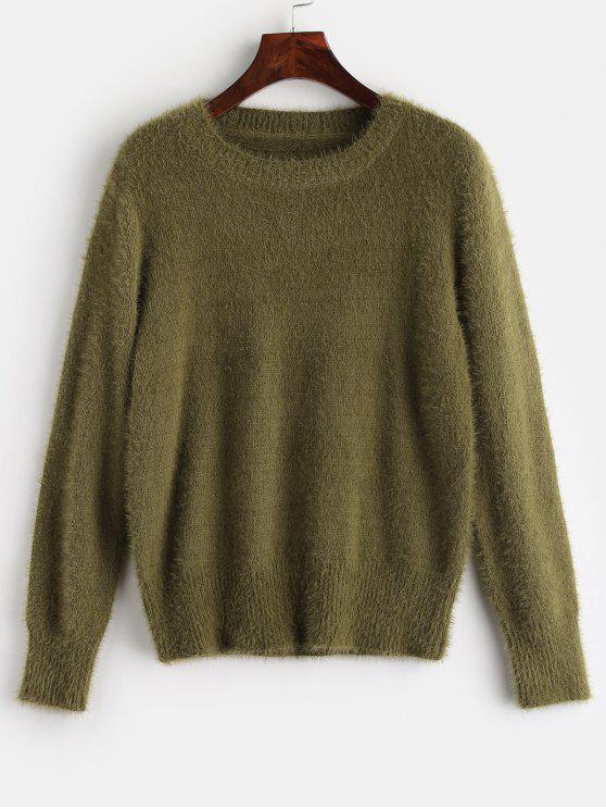 ZAFUL Suéter Liso Texturizado Difuso - Verde de abacate Um Tamanho