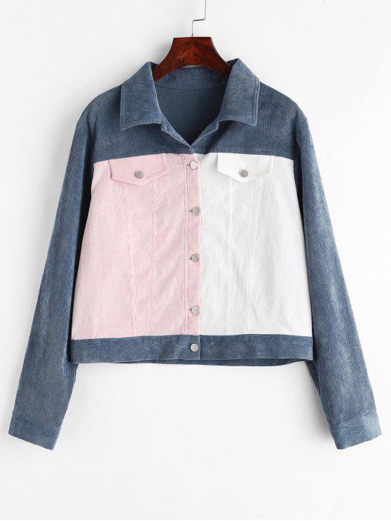 best ZAFUL Contrast Button Up Corduroy Shirt Jacket - MULTI M