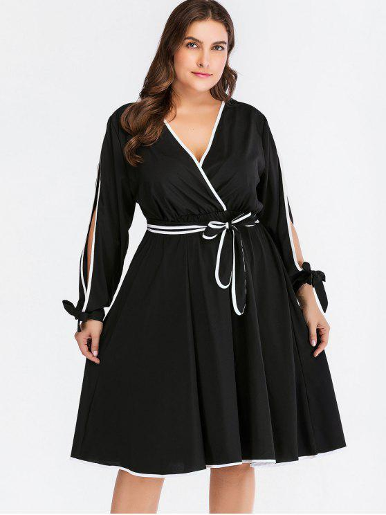 Contrasting Piping Split Sleeve Plus Size Dress BLACK