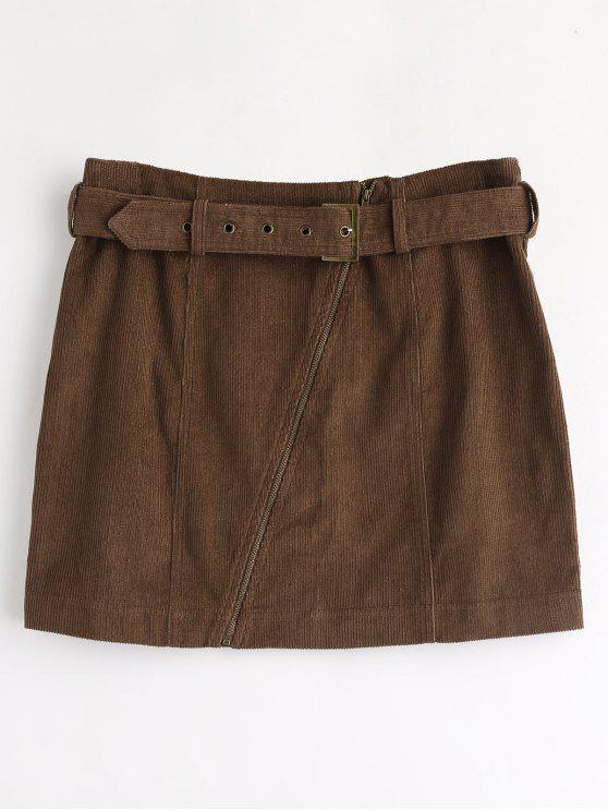 ZAFUL Corduroy Zip Faux Belt Skirt - Marrón Oscuro L