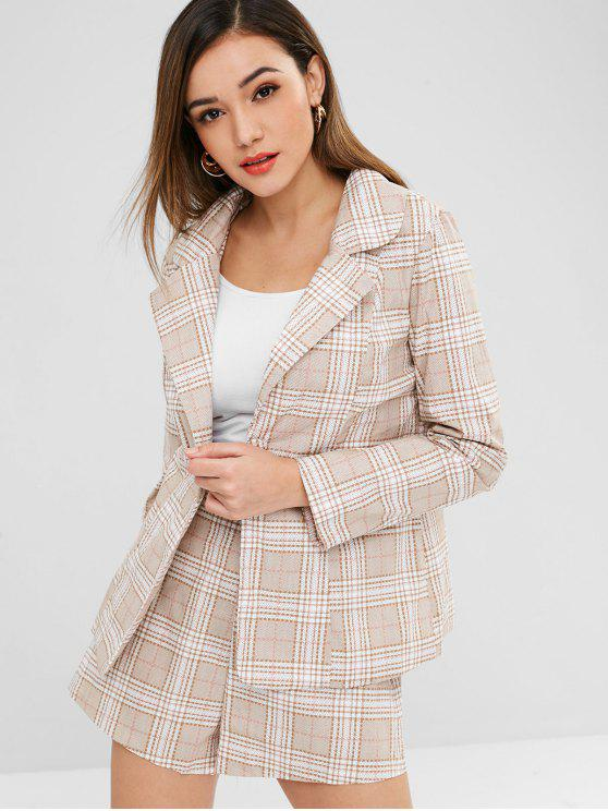 outfit ZAFUL One Button Plaid Blazer and Shorts Set - LIGHT KHAKI XL