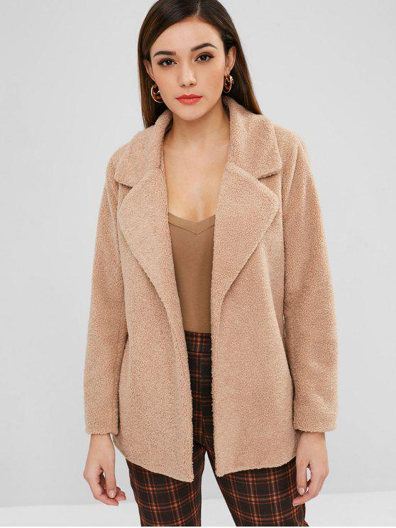 معطف ZAFUL Lapel Faux Shearling شتوي - الجمل الجمل L