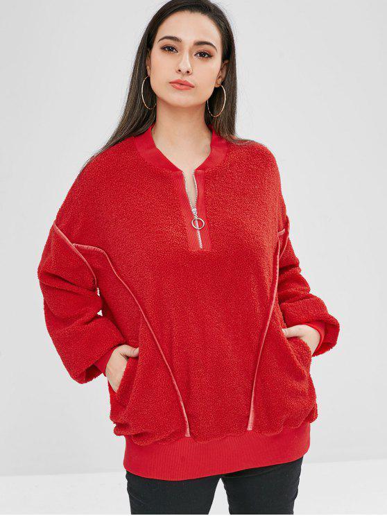 shop ZAFUL Oversized Fluffy Borg Pullover Sweatshirt - RED XL