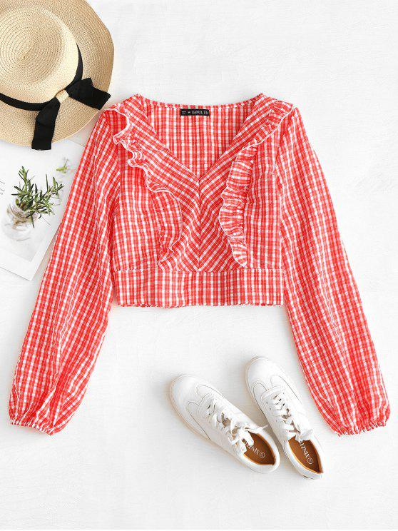 unique ZAFUL Ruffles Gingham Crop Blouse - BEAN RED S