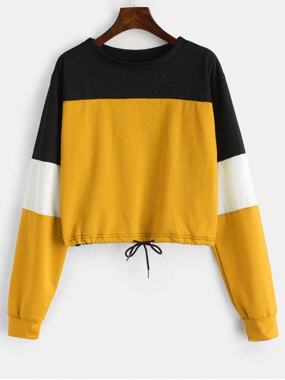 trendy Drawstring Color Block Pullover Sweatshirt - BEE YELLOW L