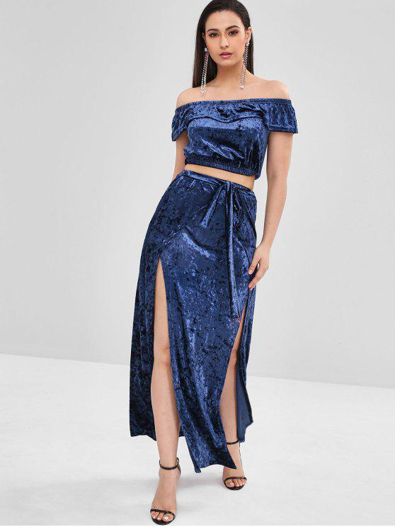 1840f73a19c 39% OFF  2019 ZAFUL Velvet Crop Top And Slit Skirt Set In MIDNIGHT ...